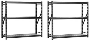 "Sandusky Lee 7224PRBWWD3 Black Heavy Duty Steel Welded Storage Rack, 3 Shelves, 2,000 lb. capacity per shelf, 72"" Height x 77"" Width x 24"" Depth (Pack of 2)"