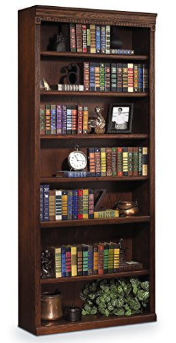 "Martin Furniture Huntington Oxford 84"" Open Bookcase, Burnish Finish, Fully Assembled"