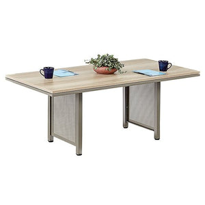 at Work 8' x 3.5' Conference Table Warm Ash Laminate/Brushed Nickel Painted Steel Frame
