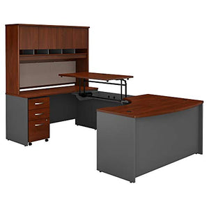 Bush Business Furniture Series C 60W x 43D Left Hand 3 Position Sit to Stand U Shaped Desk with Hutch and Mobile File Cabinet in Hansen Cherry/Graphite Gray