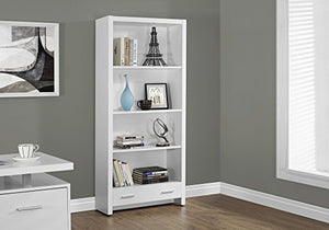 Monarch Specialties White Hollow-Core Bookcase with a Drawer, 71-Inch