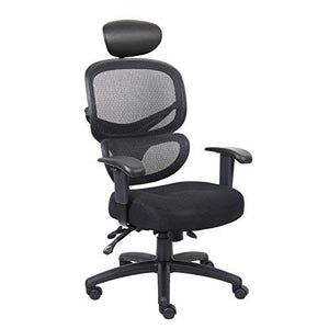Boss Office Products B6338-HR Multi-Function Task Chair with Headrest in Black
