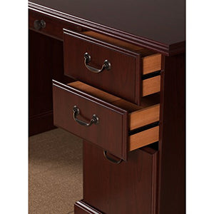kathy ireland Home by Bush Furniture Bennington Manager's Desk and Credenza in Harvest Cherry