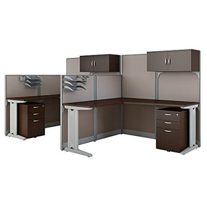 Office in an Hour 2 Person L Shaped Cubicle Workstations in Mocha Cherry