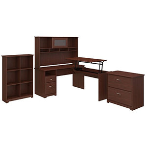 Bush Furniture Cabot 60W 3 Position L Shaped Sit to Stand Desk with Hutch and Storage in Harvest Cherry