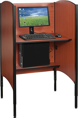 "Balt 90294 Up-Rite Height Adjustable Sit to Stand Carrel Workstation, Cherry, Starter Unit, 46.3"" - 58.3""H x 31""W x 30""D"