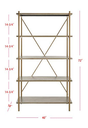 Safavieh ETG6206A Home Collection Rigby 5 Tier Etagere, Rustic Oak/Gold