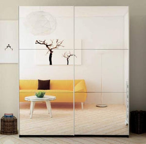 2 Mirrored Door Wardrobe with Adjustable/Removable Shelves & Hanging Rod