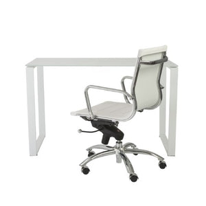 Euro Style Diego Pure White Glass Top Desk with White Powder Coated Steel Base