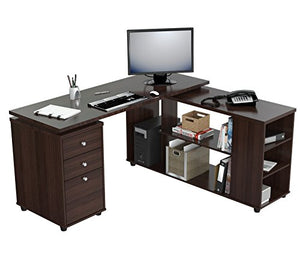 Inval America ET-3215 L Shaped Work Station Computer Desk, Espresso