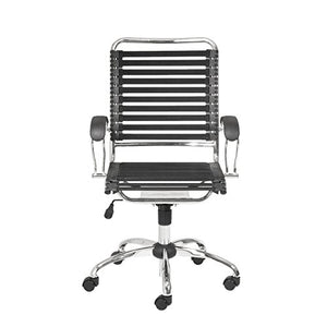 Eurø Style Flat Bungie High Back Adjustable Office Chair with J-Arm, Black Bungies with Chrome Frame