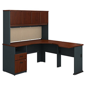 Bush Business Furniture Series A 60W x 65D L Shaped Desk with Hutch and 2 Drawer Pedestal in Hansen Cherry and Galaxy