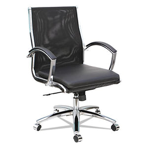 Alera ALENR4218 Neratoli Mid-Back Slim Profile Chair, Black, Leather/Mesh