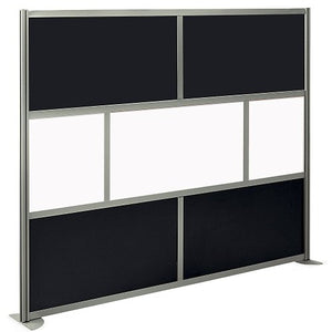 "at Work Divider Panel 96""W x 78""H Black Laminate and White Laminate Inserts/Brushed Nickel Finish Aluminum and Steel Frame"