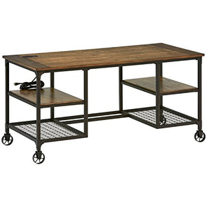 "Stone & Beam Elias Industrial Metal Office Computer Desk, 60""W, Brown/Black"