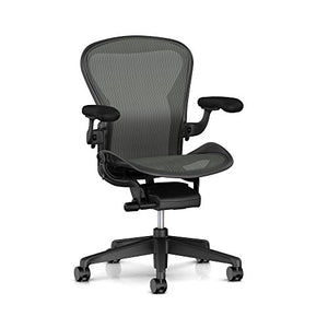Herman Miller Aeron Task Chair: Standard Tilt - Zonal Back Support - Fixed Arm - Black Vinyl Armpad - Carpet Caster