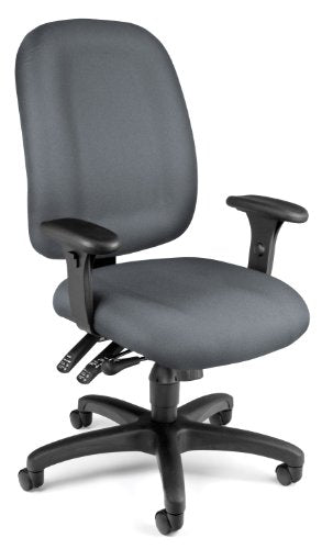 OFM Ergonomic Upholstered Multi-Adjustable ComfySeat Task Chair with Arms, Gray