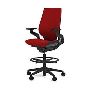 Steelcase Gesture 442 Stool Chair - Cogent: Connect Scarlet Fabric, Medium Seat Height, Shell Back, Dark on Dark Frame