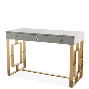 TOV Furniture The Audrey Collection Modern Computer Office Writing Desk with Lacquered Wooden Top, Gold Base & 3 Storage Drawers, Gray