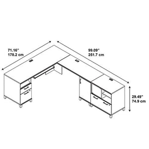 Achieve L Shaped Desk with Printer Stand File Cabinet