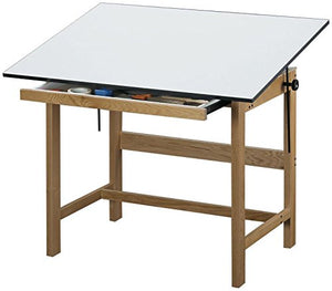 Alvin WTB60 Titan Solid Oak Drafting Table Natural Finish 37 1/2 inches x 60 inches x 37 inches
