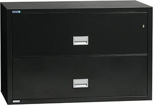 Phoenix Lateral 38 inch 2-Drawer Fireproof File Cabinet with Water Seal, Black
