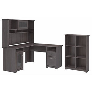 Bush Furniture Cabot L Shaped Desk with Hutch and 6 Cube Organizer in Heather Gray