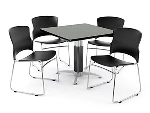 "OFM Core Collection Breakroom Set, 36"" Square Metal Mesh Base Multi-Purpose Table in Gray Nebula, 4 Multi-use Plastic Stack Chairs in Black (PKG-BRK-028-0006)"