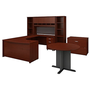 Bush Business Furniture Series C 60W Right Handed Bow Front U Shaped Desk with Storage and Conference Table in Mahogany