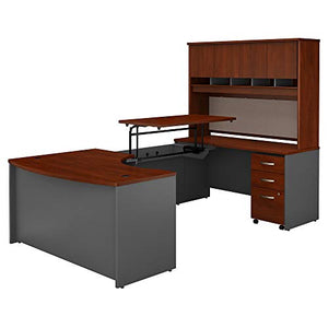 Bush Business Furniture Series C 60W x 43D Right Hand 3 Position Sit to Stand U Shaped Desk with Hutch and Mobile File Cabinet in Hansen Cherry/Graphite Gray