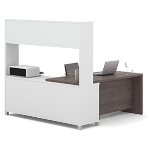 Bestar Pro-Linea L-Desk with Hutch, White/Bark Grey