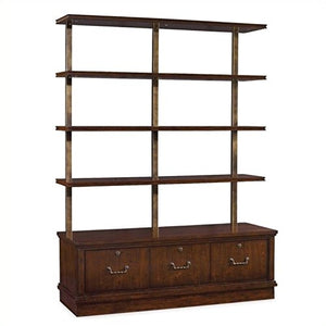 Hooker Furniture Palisade 3-Drawer 4-Shelf Bookcase in Walnut