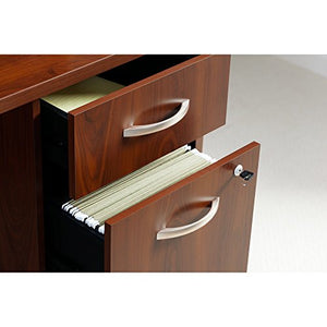 Bush Business Furniture Series C Elite 66W x 30D Desk Shell with Two 3/4 Pedestals in Hansen Cherry