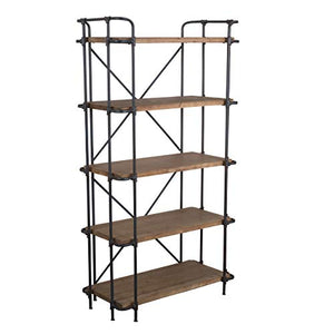 Christopher Knight Home 295968 Deal Furniture Cobek 5-Shelf Industrial Design Solid Wood Bookcase, Brown