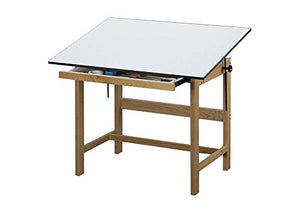 "Titan Solid Oak Drafting Table - 60"" X 38"" Natural Oak Finish Dimensions: 60""W X 37.5""D X 37""H Weight: 105 Lbs"