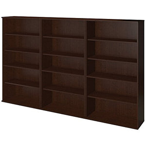 Bush Business Furniture 66H Bookcase Storage Wall in Mocha Cherry