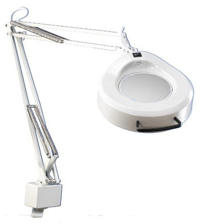 "Luxo 16346LG IFM Magnifier, 45"" External Spring Arm, 5-Diopter, Edge Clamp, Light Grey"