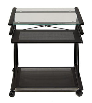 Calico Designs 50100 L-Shaped Computer Cart with Clear Glass, Black