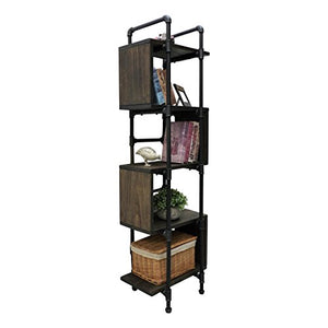 FURNITURE PIPELINE OW1-BL/BL/BL Tucson Modern Industrial Etagere Bookcase Display