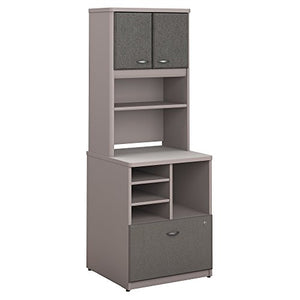 Bush Business Furniture Series A 24W Piler Filer Cabinet with Hutch in Pewter and White Spectrum