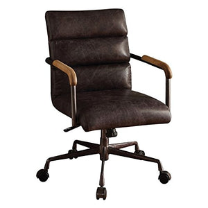 Acme Furniture 92415 Harith Top Grain Leather Office Chair in Antique Ebony