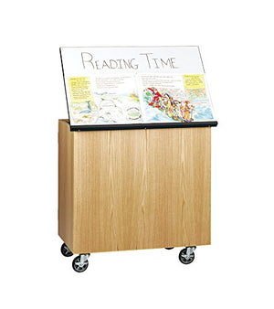 "Diversified Woodcraft 4901K UV Finish Oak Wood Write-n-Roll Cabinet with Swivel Caster, Marker Board Top, 36"" Width x 36"" Height x 24"" Depth"