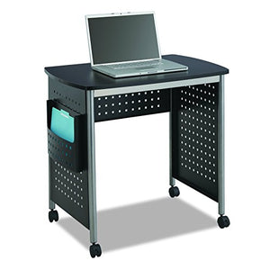 Safco Products 1907BL Scoot Sit Down Computer Workstation Desk with File Pocket, Black