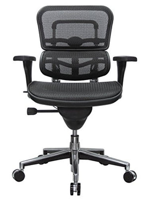 Eurotech Seating ME8ERGLO(N) Ergohuman Mid Back Mesh Swivel Chair, Black