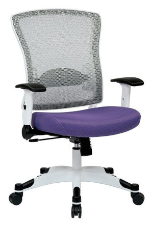 SPACE Seating Breathable Mesh Back and Padded Mesh Seat, Adjustable Arms, Tilt Tension and Lumbar Support with White Coated Nylon Frame Managers Chair, Purple