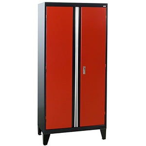 "Sandusky Lee GF3F361872-019L Modular System Storage Cabinet, 2 Door, 36"" Width x 18"" Diameter x 79"" Height, Black/Red"