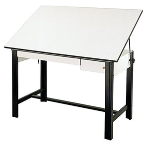 Alvin DM60CT-BK DesignMaster Table, Black Base White Top 2 Drawers 37.5 inches x 60 inches