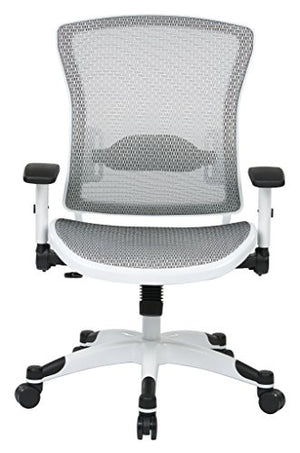 SPACE Seating Breathable Mesh Seat and Back, 2-to-1 Synchro Tilt Control, 2-Way Adjustable Flip Arms, and White Coated Nylon Base Managers Chair, White