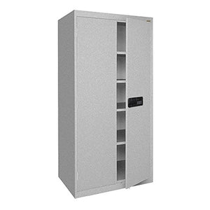 "Sandusky Lee EA4E361872-MG Elite Series Keyless Electronic Welded Storage Cabinet, 36"" Width x 18"" Length x 72"" Height, Multi Granite"