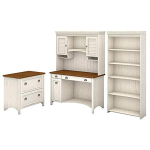 Bush Furniture Stanford Computer Desk with Hutch, Bookcase and Lateral File Cabinet in Antique White